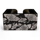 Black Rustic Hibiscus Wooden Bar Caddy