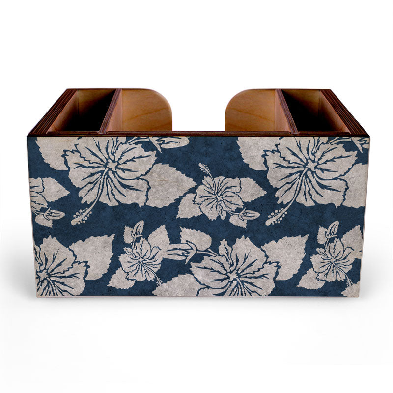 Blue Rustic Hibiscus Wooden Bar Caddy
