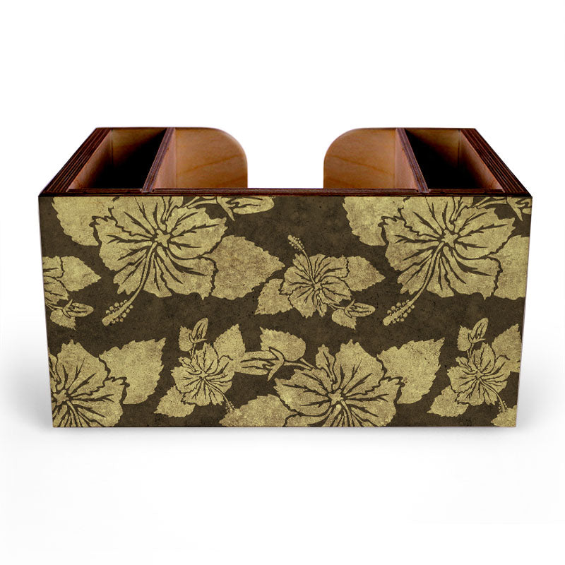Earth Tone Rustic Hibiscus Wooden Bar Caddy