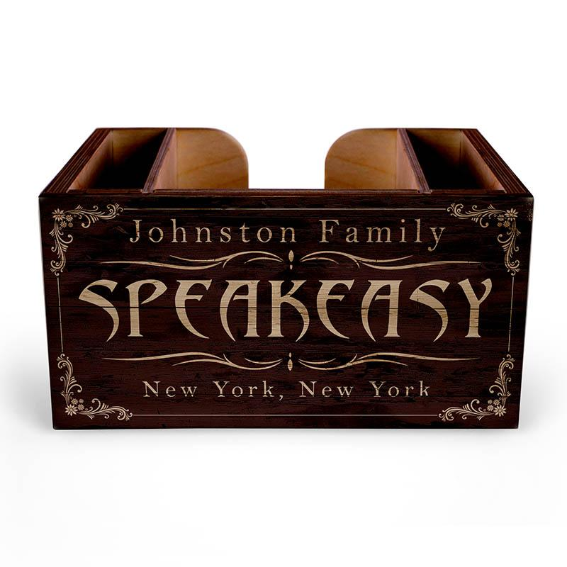 Customizable Wooden Bar Caddy - Speakeasy