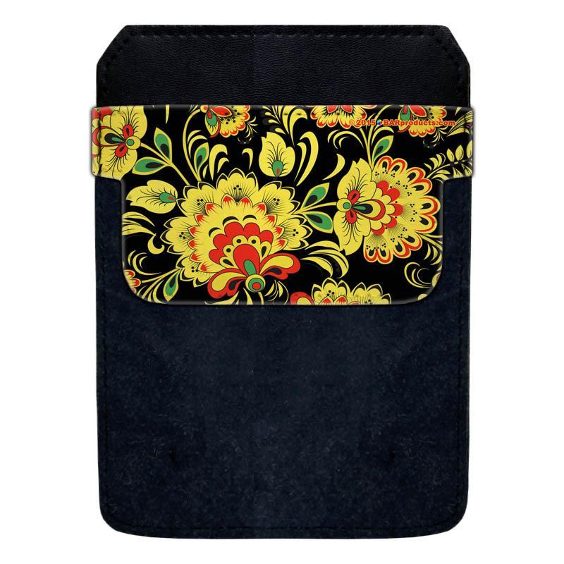 Leather Bottle Opener Pocket Protector w/ Designer Flap - Yellow and Black Floral - LARGE