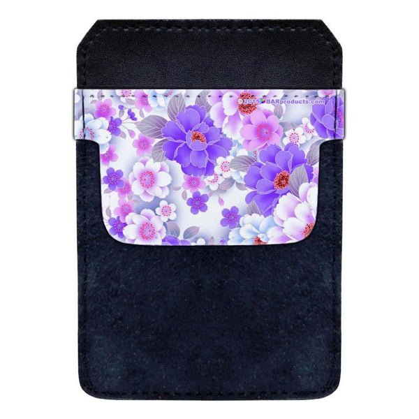 Leather Bottle Opener Pocket Protector with Designer Flap - Purple and Pink Floral - SMALL