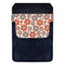 Leather Bottle Opener Pocket Protector w/ Designer Flap - Orange Floral - SMALL