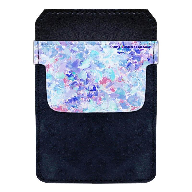 Leather Bottle Opener Pocket Protector w/ Designer Flap - Watercolor Floral - SMALL