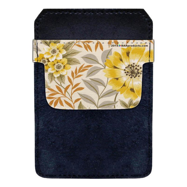 Leather Bottle Opener Pocket Protector w/ Designer Flap - Sunflower Floral