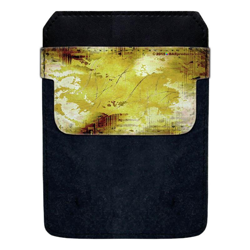 Leather Bottle Opener Pocket Protector w/ Designer Flap - Yellow Grunge - LARGE
