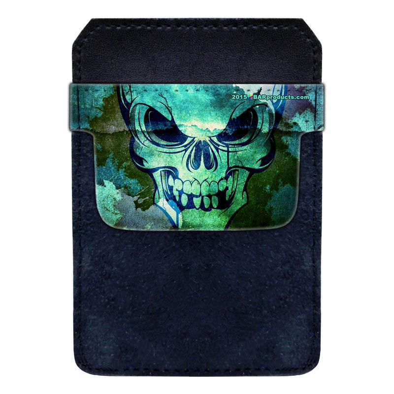 DekoPokit™ Leather Bottle Opener Pocket Protector w/ Designer Flap - Grungy Skull