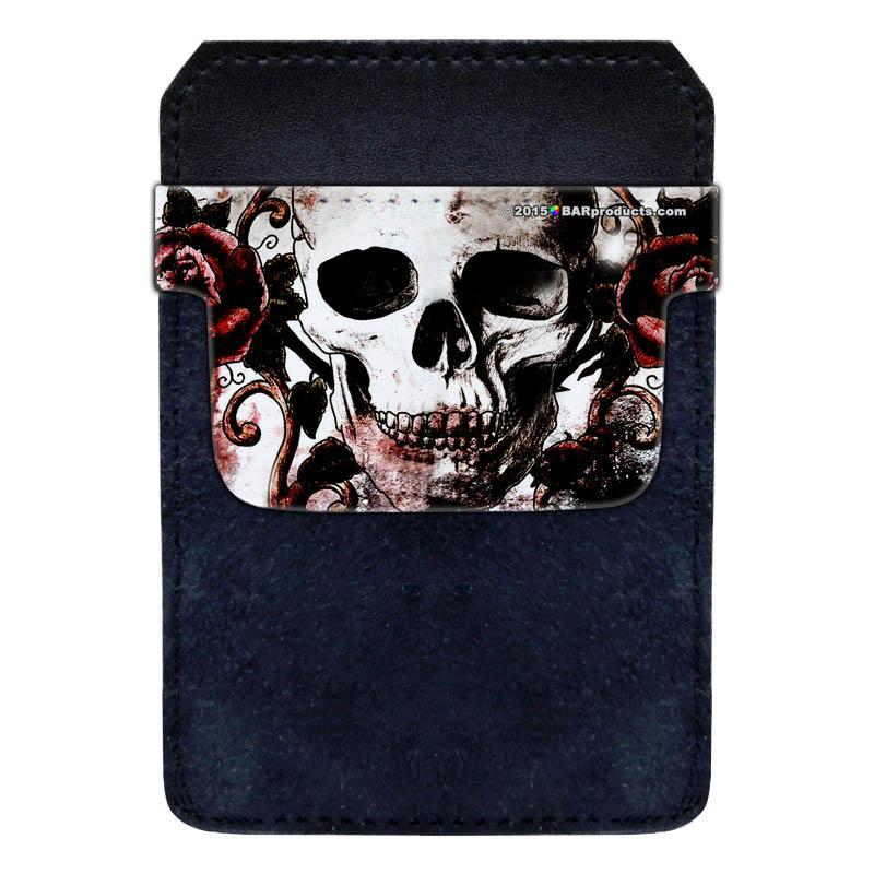 DekoPokit™ Leather Bottle Opener Pocket Protector w/ Designer Flap - Grungy Skull and Roses - SMALL