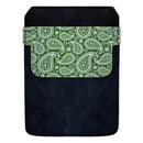 Leather Bottle Opener Pocket Protector w/ Designer Flap - Green Paisley - LARGE