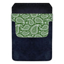 Leather Bottle Opener Pocket Protector w/ Designer Flap - Green Paisley