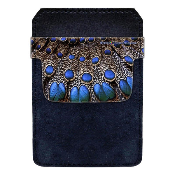 Leather Bottle Opener Pocket Protector w/ Designer Flap - Peacock - SMALL
