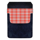 DekoPokit™ Leather Bottle Opener Pocket Protector w/ Designer Flap - Orange Plaid - SMALL