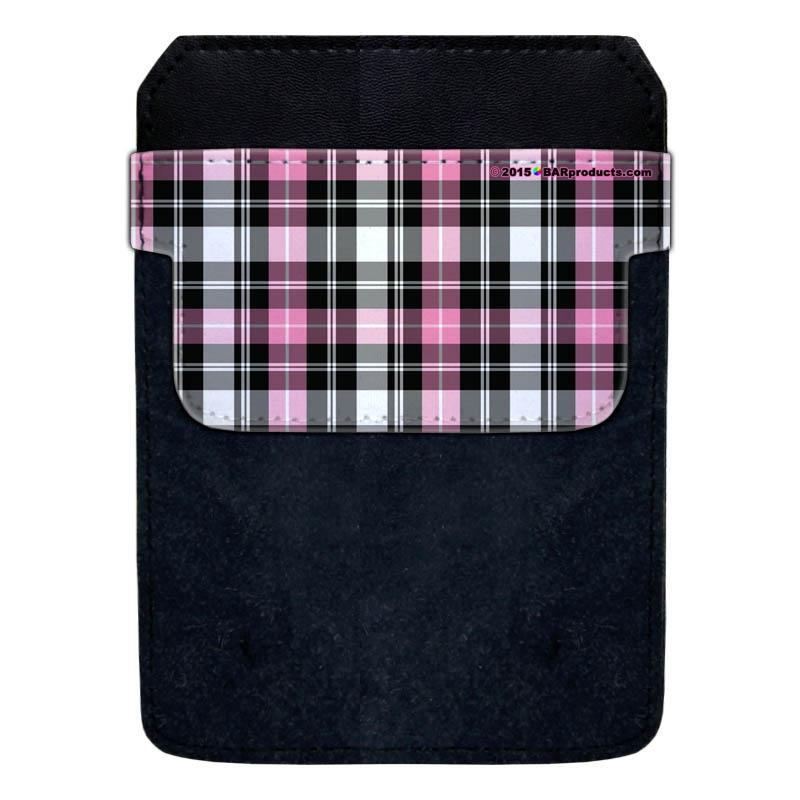 DekoPokit™ Leather Bottle Opener Pocket Protector w/ Designer Flap - Pink and Grey Plaid - LARGE