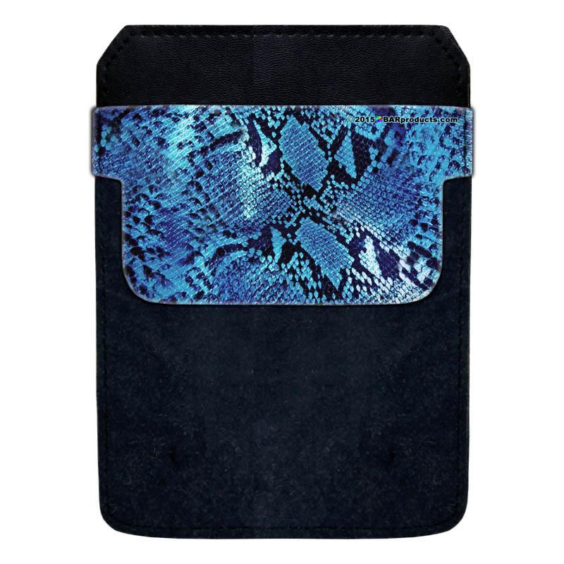 DekoPokit™ Leather Bottle Opener Pocket Protector w/ Designer Flap - Blue Snakeskin - LARGE