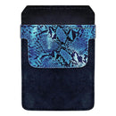 DekoPokit™ Leather Bottle Opener Pocket Protector w/ Designer Flap - Blue Snakeskin - SMALL