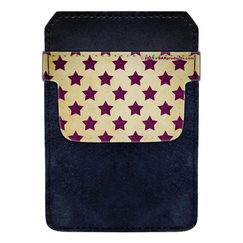 DekoPokit™ Leather Bottle Opener Pocket Protector w/ Designer Flap - Purple and Tan Stars - SMALL