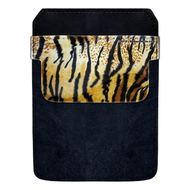 DekoPokit™ Leather Bottle Opener Pocket Protector w/ Designer Flap -  Tiger Print - LARGE
