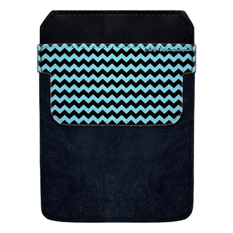 DekoPokit™ Leather Bottle Opener Pocket Protector w/ Designer Flap - Teal and Black Zig Zag - LARGE