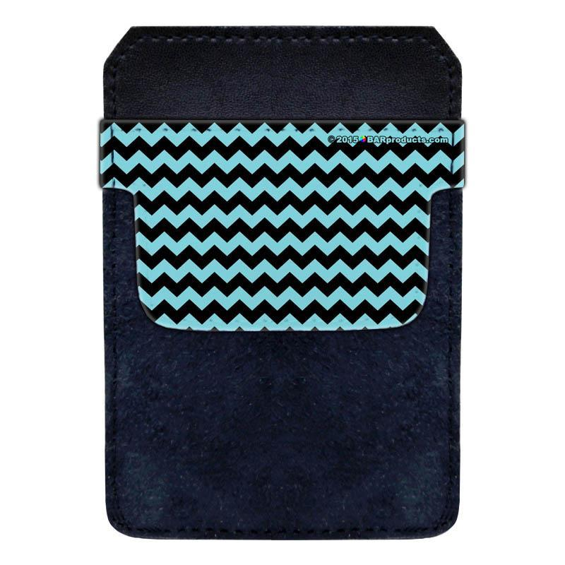 DekoPokit™ Leather Bottle Opener Pocket Protector w/ Designer Flap - Teal and Black Zig Zag - SMALL