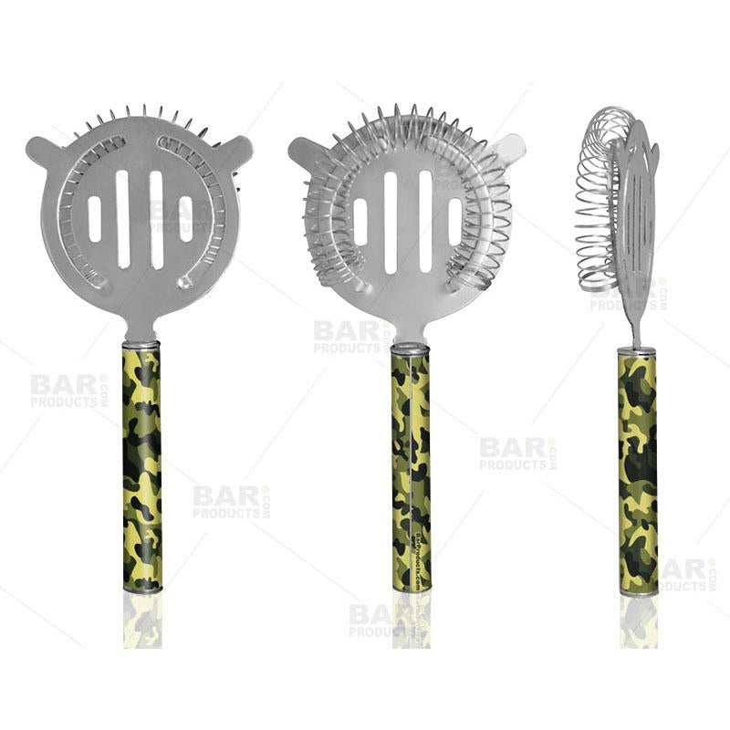 Designer Cocktail Strainer - Pipe Handle - Camouflage