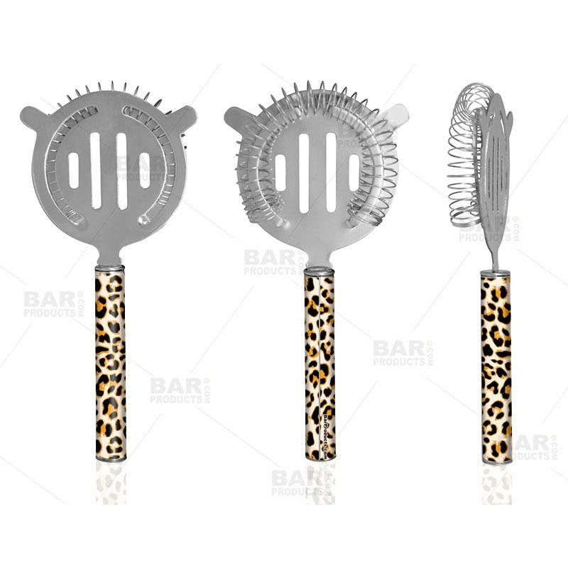 Designer Cocktail Strainer - Pipe Handle - Cheetah