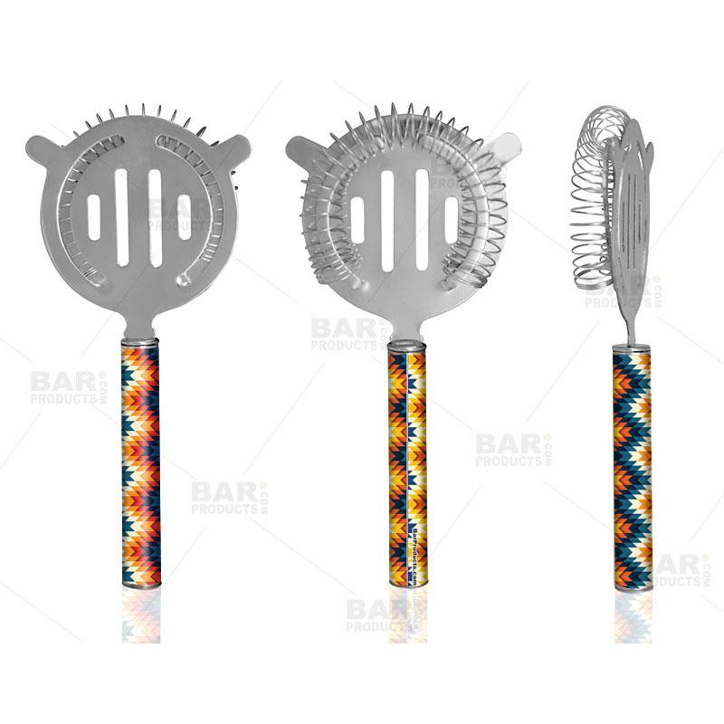 Designer Cocktail Strainer - Pipe Handle - Colorful Geometric