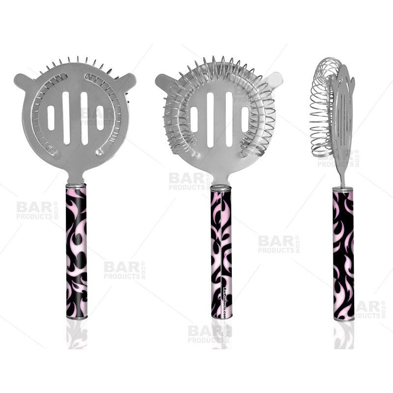 Designer Cocktail Strainer - Pipe Handle - Pink Flames