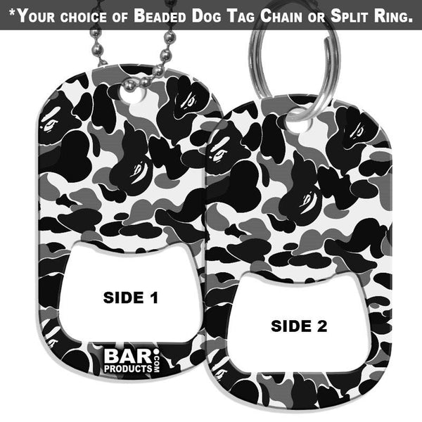 Dog Tag Bottle Opener - Black and White CAMO