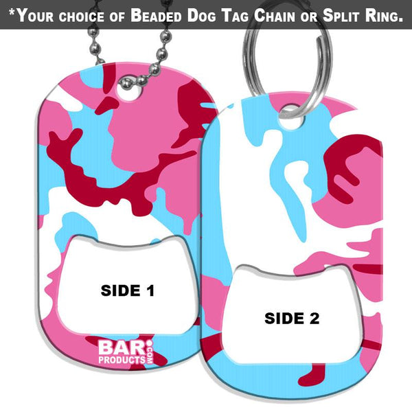 Dog Tag Bottle Opener - Blue and Pink CAMO