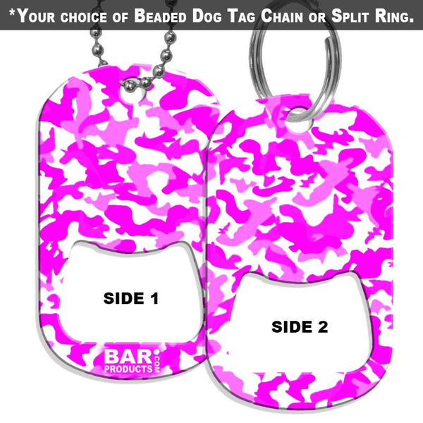 Dog Tag Bottle Opener - Pink and White CAMO