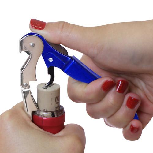 Step 3 - Double Lever Wine Corkscrew Opening Bottle