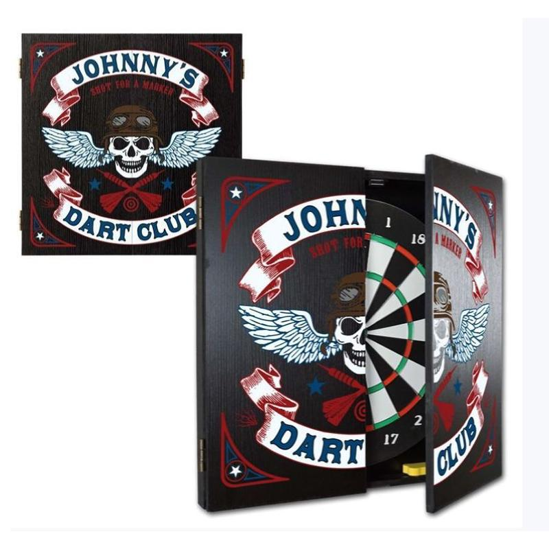 Customizable Skull Biker Dartboard Cabinet