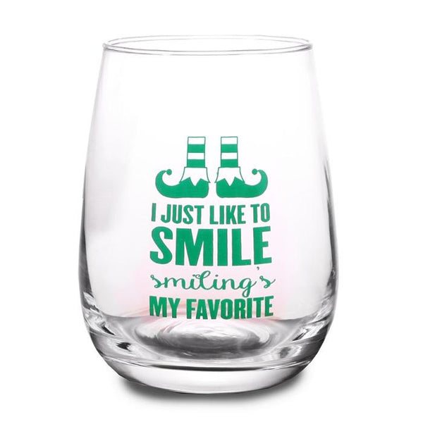 Elf - I Just Like to Smile Stemless Wine Glass
