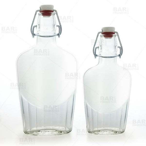 Flask Glass Bottle w/ Swing Top - Available in 8.5 or 17 ounce