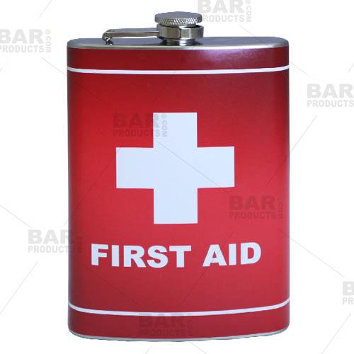 Stainless Steel Hip Flask - First Aid Design - 12 ounce