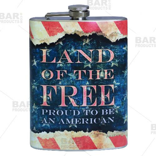 Stainless Steel Hip Flask - Vintage Patriotic Design - 12 ounce