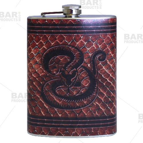 Stainless Steel Hip Flask - Leather Snake Design - 12 ounce