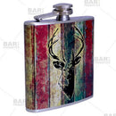 Stainless Steel Hip Flask - Buck Design - 6 ounce side view