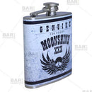 Stainless Steel Hip Flask - Moonshine Design - 6 ounce side view
