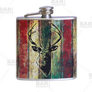 Stainless Steel Hip Flask - Buck Design - 6 ounce
