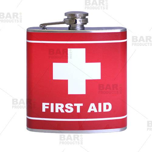 Stainless Steel Hip Flask - First Aid Design - 6 ounce