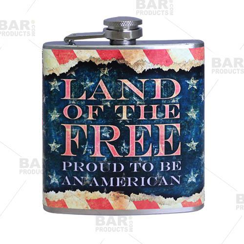 Stainless Steel Hip Flask - Vintage Patriotic Design - 6 ounce