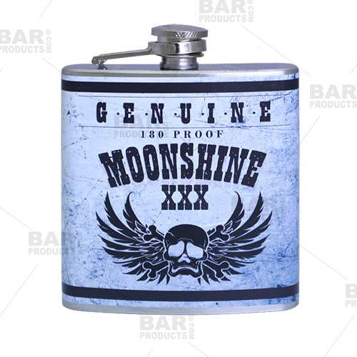 Stainless Steel Hip Flask - Moonshine Design - 6 ounce