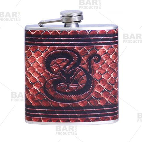 Stainless Steel Hip Flask - Leather Snake Design - 6 ounce