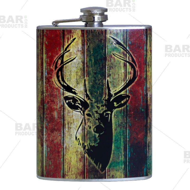 Stainless Steel Hip Flask - Buck Design - 8 ounce
