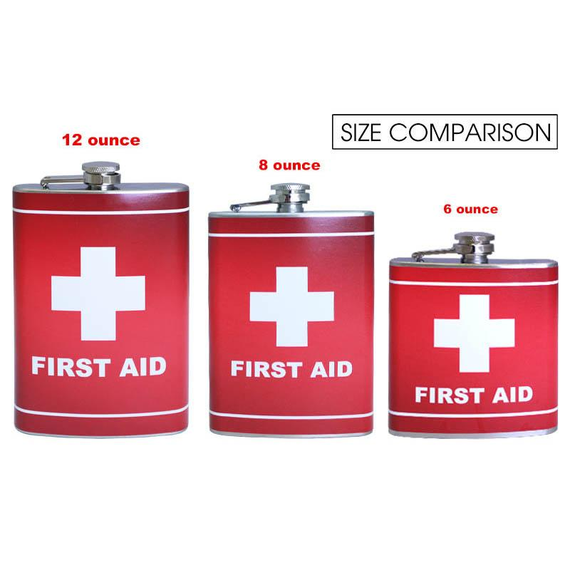 Stainless Steel Hip Flask - First Aid Design - Size Comparison