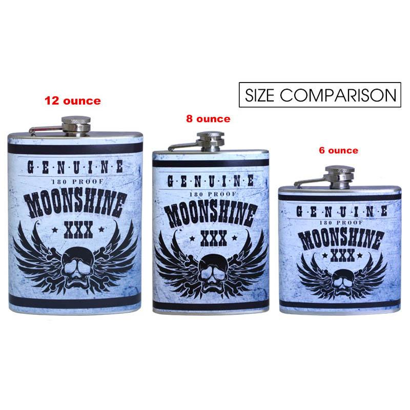 Stainless Steel Hip Flask - Moonshine Design - Size Comparison