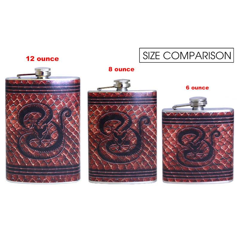 Stainless Steel Hip Flask - Leather Snake Design - Size Comparison Chart