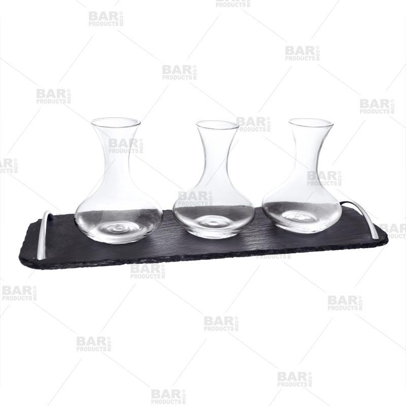 Wine Decanter Flight Set - 3 Mini Decanters with Slate Tray