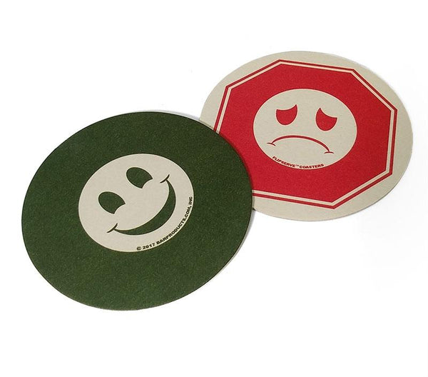 "Flipserve™ Drink Coasters - ""SMILEY"" Red Stop and Green Go - 4"" Round - Pack of 100"